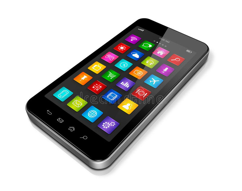 Tekniskt avancerade Smartphone med appssymbolsmanöverenheten royaltyfri illustrationer