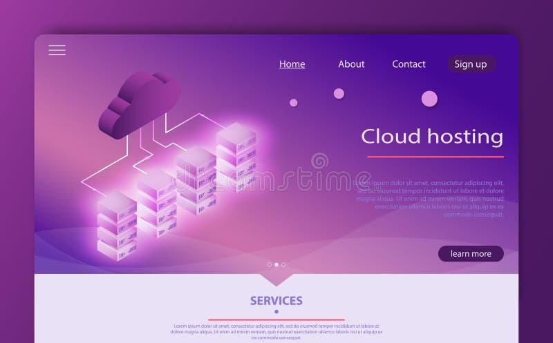 Tekniskt avancerat begrepp, datorhall, isometrisk vektor för molndatalagring cloud meddelande resurser för begreppet för datoren  vektor illustrationer