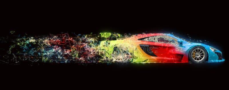 Tekniskt avancerat toppet fastar den tricolored tävlings- bilen vektor illustrationer