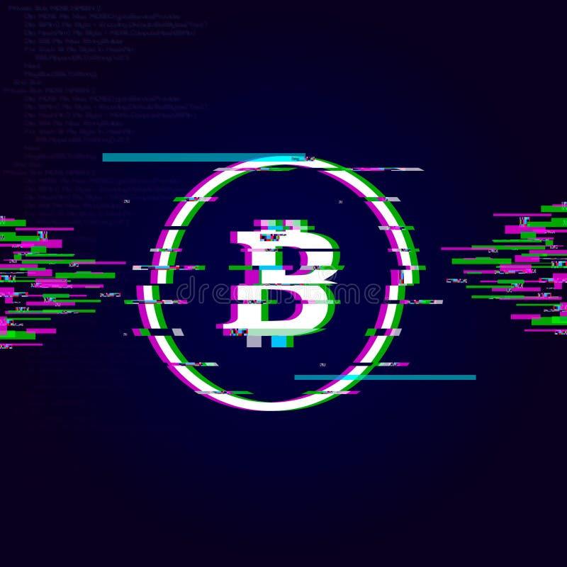 Tekniskt felBitcoin tecken, crypto valutatekniskt feleffekt vektor illustrationer