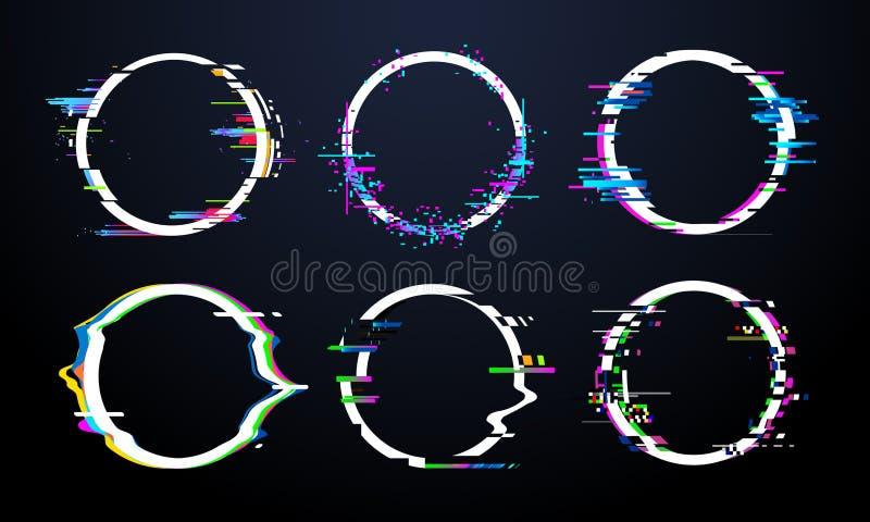 Tekniskt felcirkelram Tv förvred signalkaos, glitched ramar för distorsion för ljus effekt för cirkel, och skavanktekniska fel bu royaltyfri illustrationer