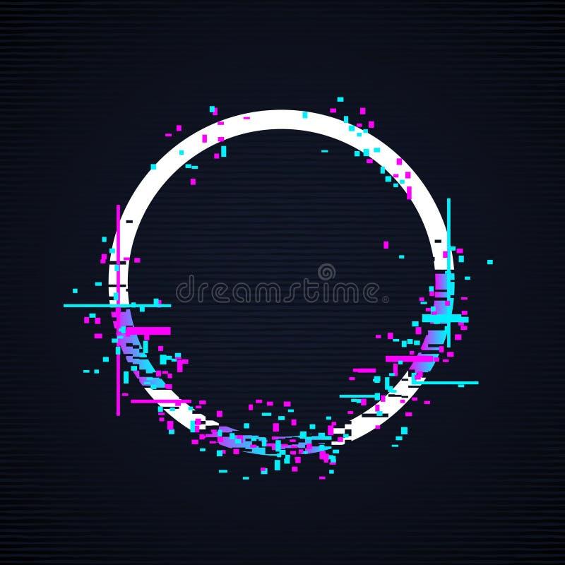 Tekniskt felcirkelram Tv förvriden illustration för signalvektor royaltyfri illustrationer