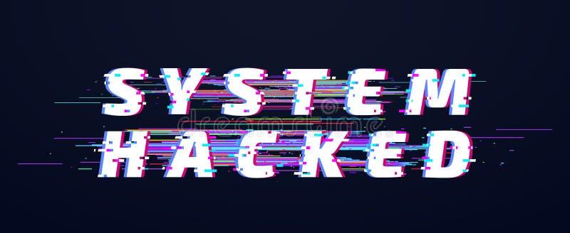 Tekniskt felstilsort System hackat alfabet eller digital bakgrund för textvektorillustration royaltyfri illustrationer