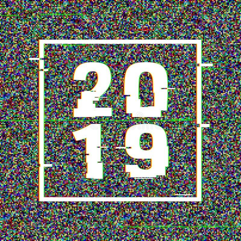 tekniskt feltext 2019 i en ram nytt år för begrepp Effekt för Anaglyph 3D Teknologisk retro bakgrund också vektor för coreldrawil vektor illustrationer