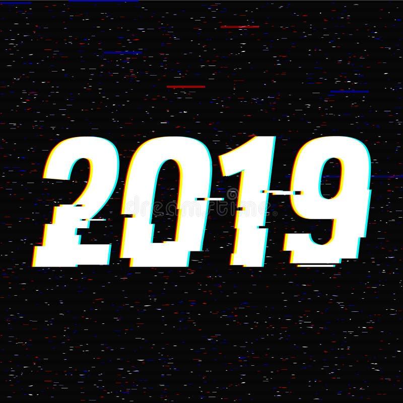 tekniskt feltext 2019 nytt år för begrepp Effekt för Anaglyph 3D Teknologisk retro bakgrund också vektor för coreldrawillustratio royaltyfri illustrationer