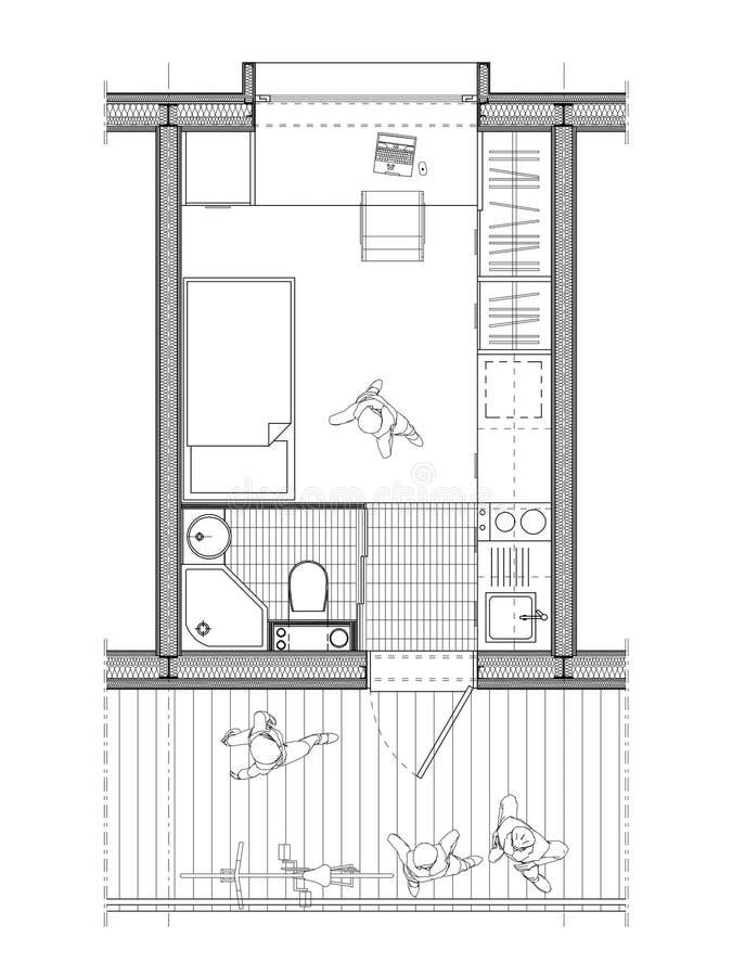 Tekniskt plan av students rum stock illustrationer bild for Chambre 6m2 plan