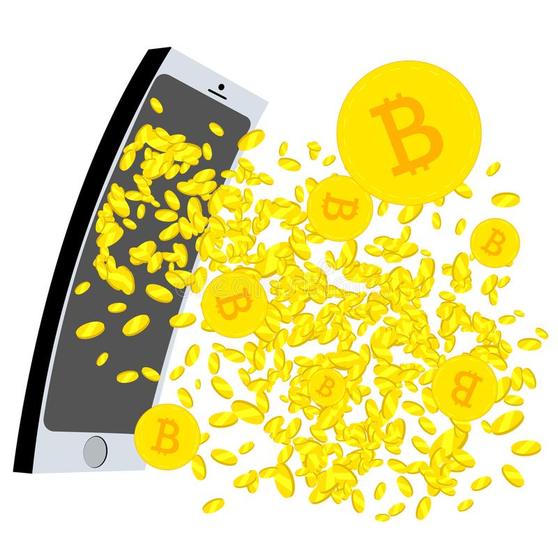 Crypto Currency gushing from the mobil phone screen royalty free illustration