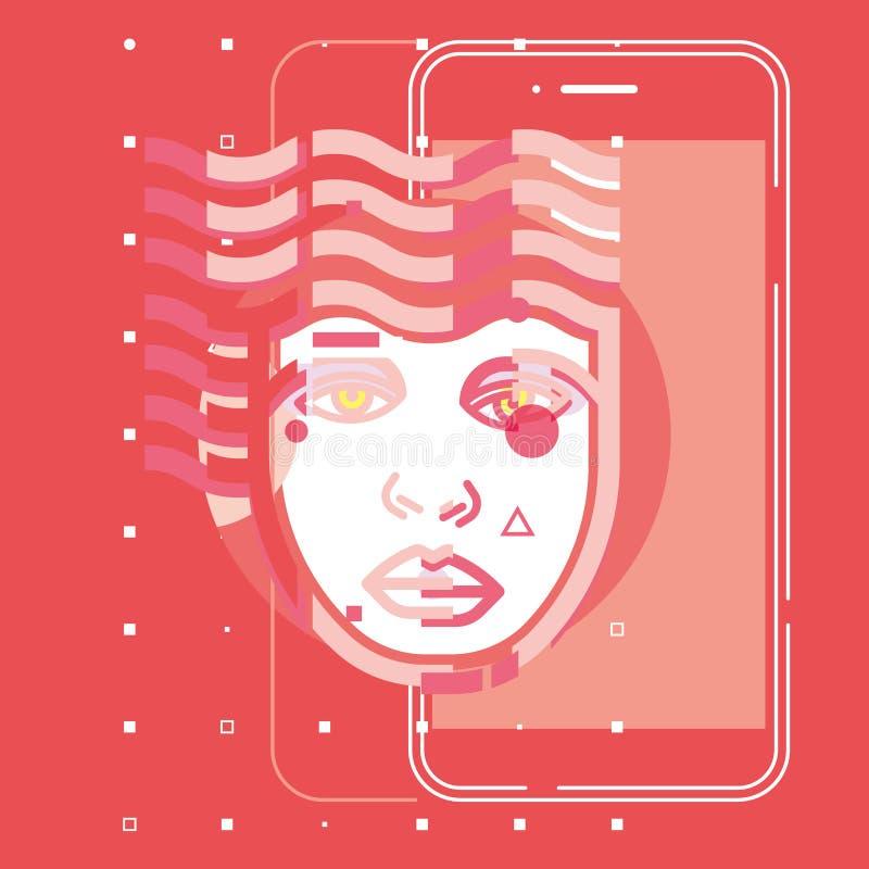 Teknologi app, plan begreppsvektordesign för digital hjärna för konstgjord intelligens framtida royaltyfri illustrationer