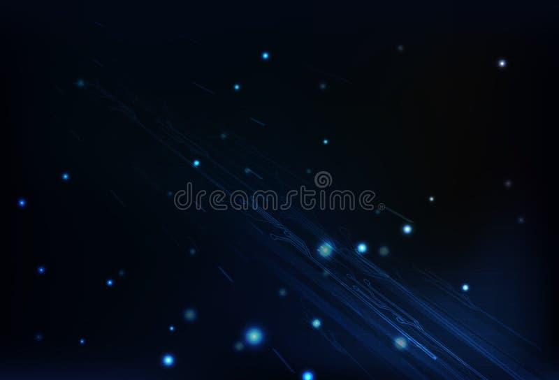 Teknologi av den blåa strömkretsen som glöder med partiklar och nätverksmor stock illustrationer