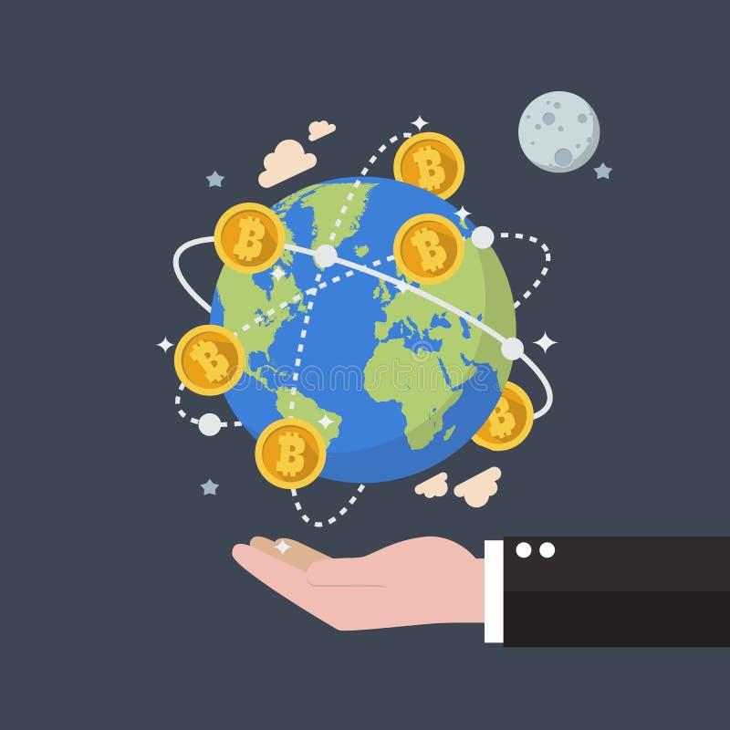 Teknologi Cryptocurrency Bitcoin för globalt nätverk vektor illustrationer