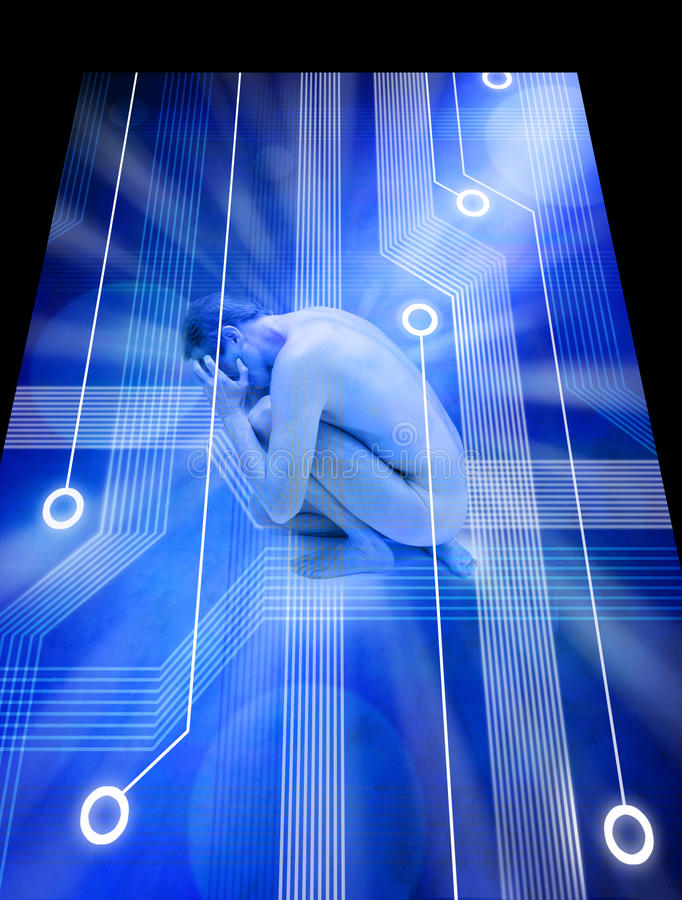 teknologi för ångestdatorspänning royaltyfri illustrationer