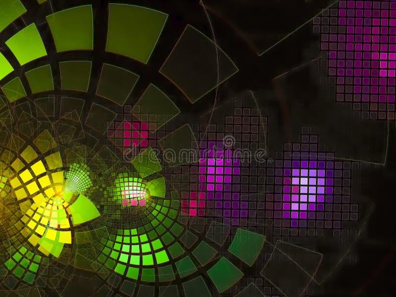 Teknologi för abstrakt begrepp för garnering för abstrakt digitalt flöde för fractalen framför skinande digitalt, diskot, affären royaltyfri bild