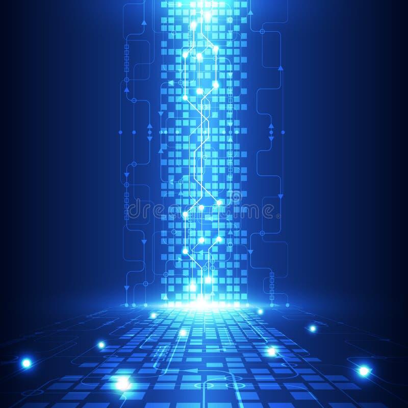 Teknologi för abstrakt teknik för vektor framtida, elektrisk telekombakgrund royaltyfri illustrationer