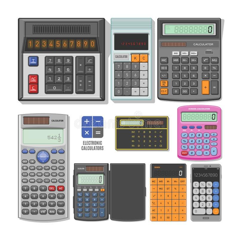 Teknologi för beräkning för redovisning för räknemaskinvektoraffär som beräknar finansillustrationuppsättningen av matematiskt ob royaltyfri illustrationer