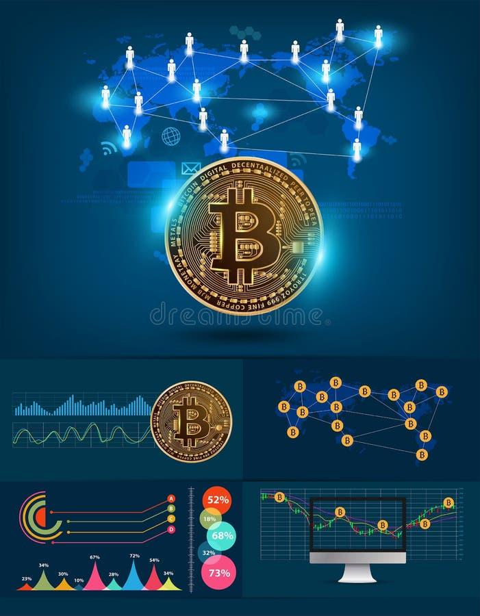 Teknologi för digital valuta för Infographics bitcoin futuristisk royaltyfri illustrationer