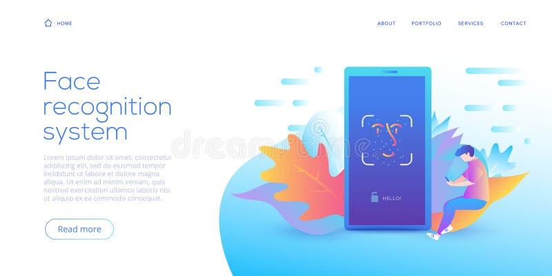 Teknologi för framsidaerkännande i idérik plan vektorillustration Begrepp för system för Smartphone ID-säkerhet Ansikts- ID eller royaltyfri illustrationer