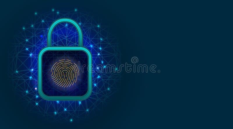 Teknologi för nätverkscybersäkerhet med hänglåset på abstrakt bakgrund Begrepp för Digitala data eller för avskildhetsskydd med f vektor illustrationer