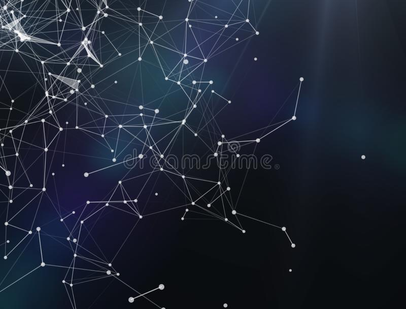 Teknologi för Plexusfantasiabstrakt begrepp och teknikbakgrund framförande 3d Abstrakt digital bakgrund med cybernetic partiklar royaltyfri illustrationer