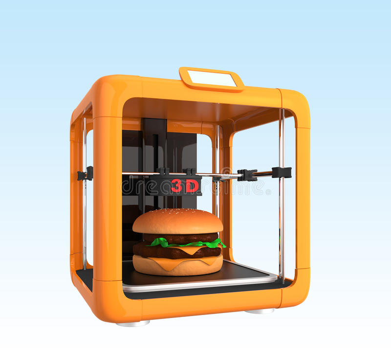 teknologi för printing 3D för livsmedelsindustri vektor illustrationer
