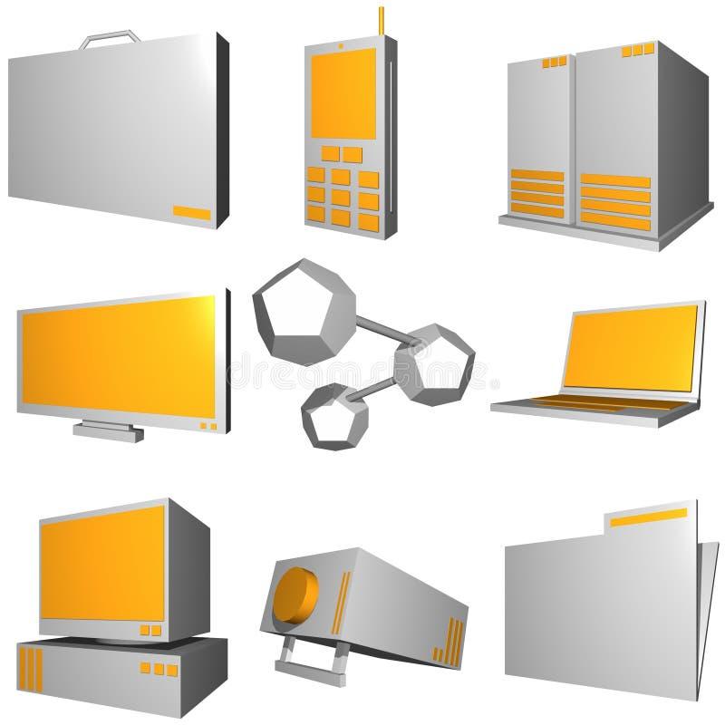 teknologi för set för information om affärssymbolsindustri royaltyfri illustrationer