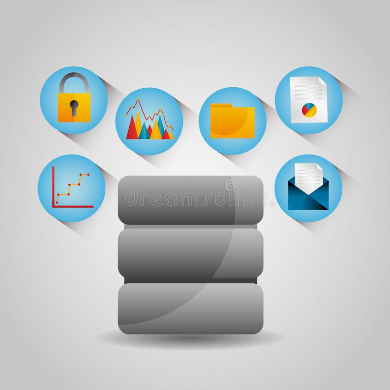 Teknologi för skydd för mapp för graf för email för dataservermitt stock illustrationer
