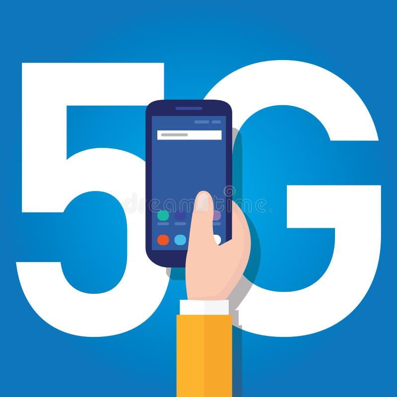 teknologi för telefonen 5g förbinder över hela världen Smart och 5th utvecklingsnätverksbegrepp snabba internet royaltyfri illustrationer