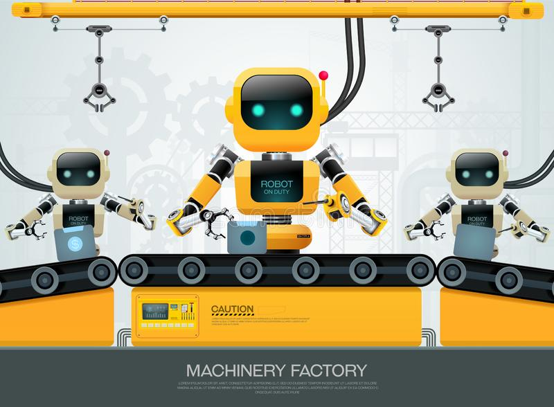 Teknologi f?r konstgjord intelligens f?r robotmaskin smarta industriella 4 0 kontroll stock illustrationer