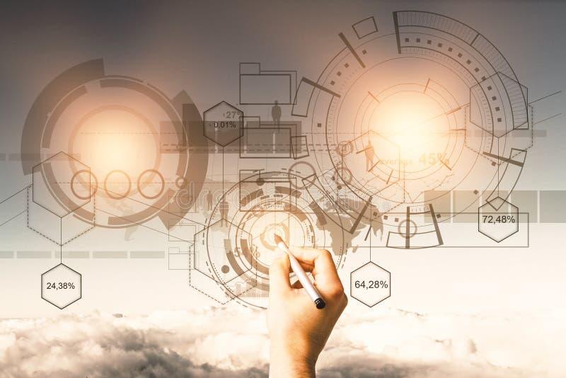 Teknologi, framtid och innovationbegrepp royaltyfria foton