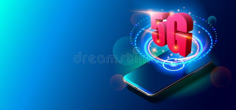 teknologi 5G och mobilt n?tverksbegrepp p? f?rgrik bakgrund stock illustrationer