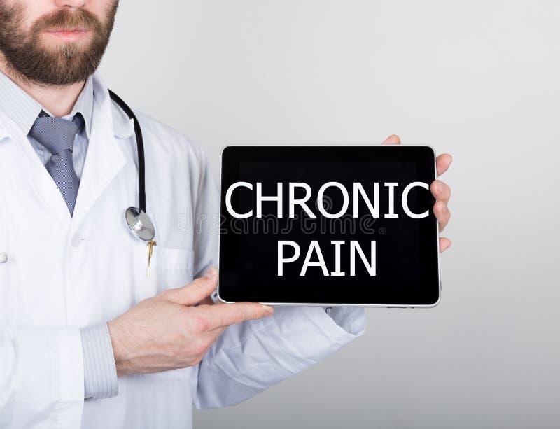 Teknologi, internet och nätverkande i medicinbegrepp - manipulera att rymma en minnestavlaPC med kroniskt smärtar tecknet Interne royaltyfri bild