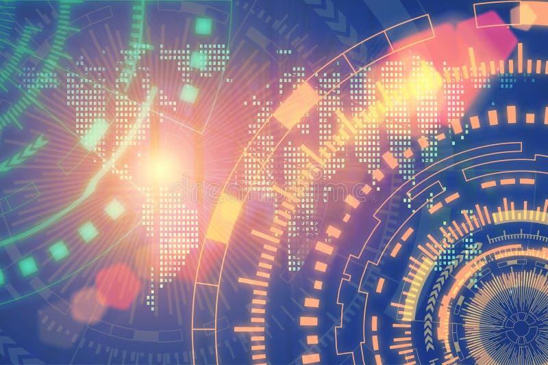 Teknologi- och anslutningsbakgrundsbegrepp Abstrakt futuristi royaltyfri bild