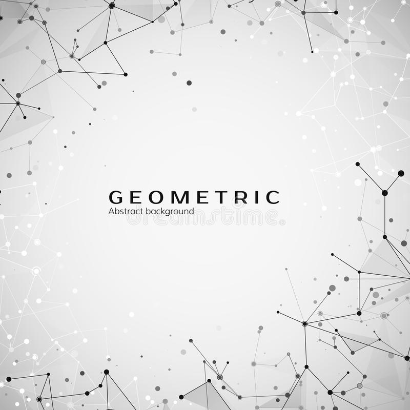 Teknologi- och vetenskapsbakgrund Polygonal bakgrund Abstrakt rengöringsduk och knutpunkter Plexusatomstruktur vektor royaltyfri illustrationer