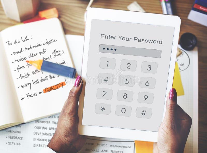Teknologi skriver in begrepp för lösenordsäkerhetsdiagram arkivfoton