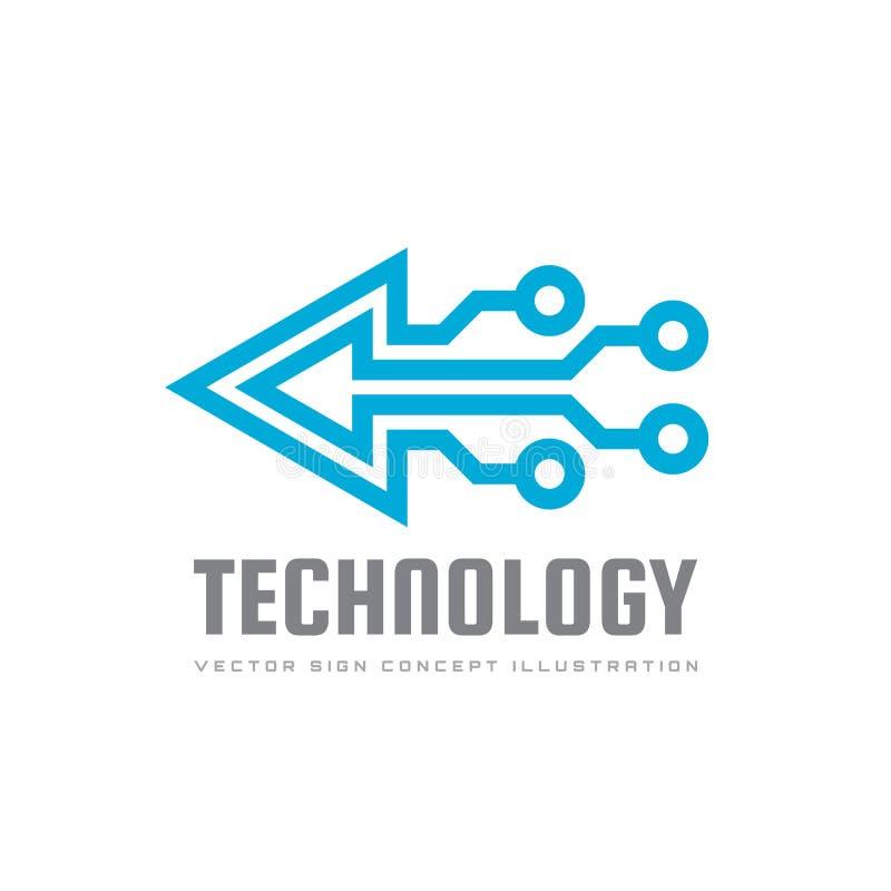 Teknologi - vektorlogomall för företags identitet Tecken för chip för triangelpilabstrakt begrepp Nätverk internettechbegrepp royaltyfri illustrationer