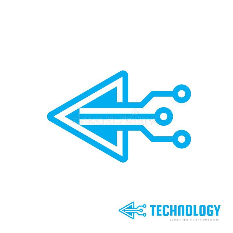 Teknologi - vektorlogomall för företags identitet Tecken för chip för triangelpilabstrakt begrepp Nätverk internettechbegrepp stock illustrationer