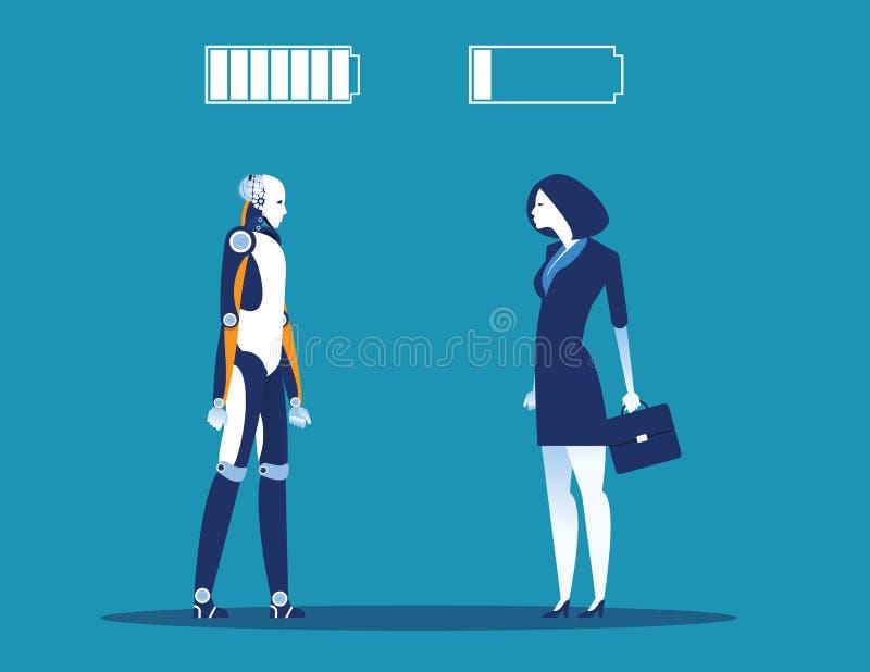 Teknologi vs m?nskligt Affärskvinna med batteritecknet Illustration f?r begreppsaff?rsvektor royaltyfri illustrationer