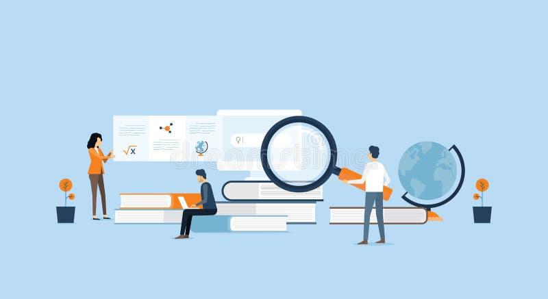 Teknologiaffärsforskning och lära royaltyfri illustrationer