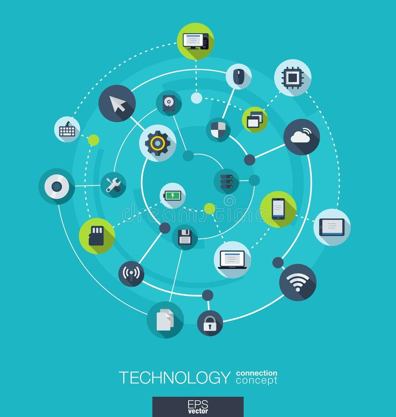 Teknologianslutningsbegrepp Abstrakt bakgrund med inbyggda cirklar och symboler för digitalt, internet, nätverk royaltyfri illustrationer