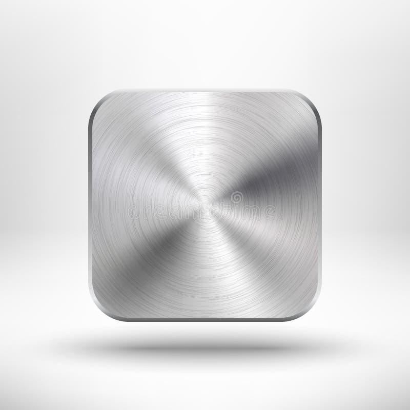 Teknologiapp-symbolen med belägger med metall texturerar för ui royaltyfri illustrationer