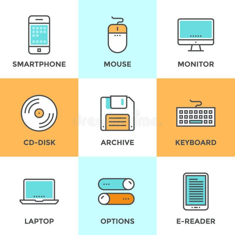 Teknologiapparatlinje symbolsuppsättning vektor illustrationer