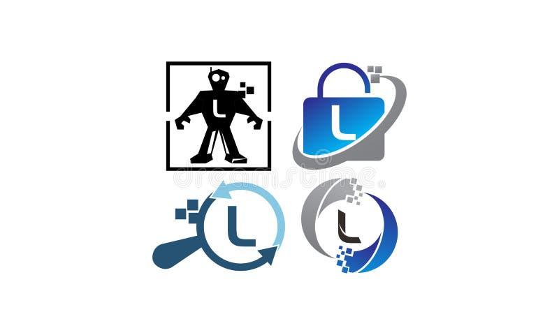 Teknologiapplikation L malluppsättning stock illustrationer