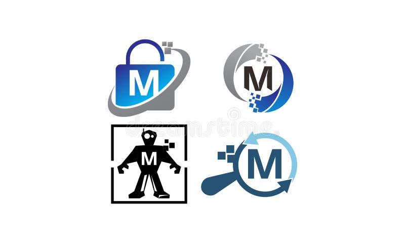 Teknologiapplikation M Template Set stock illustrationer