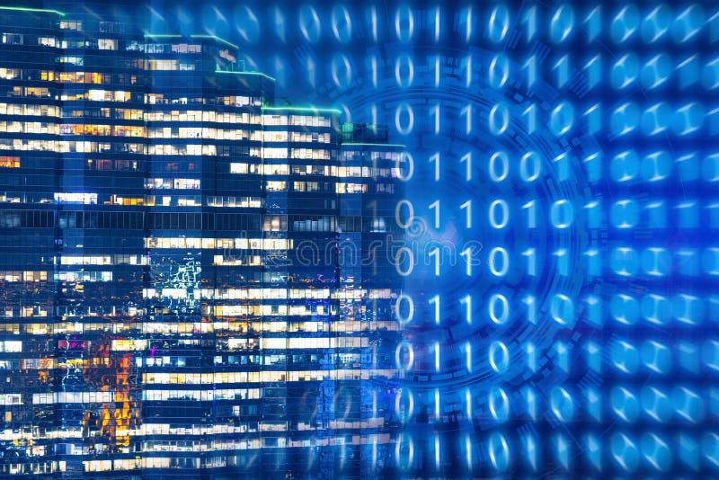 Teknologibakgrund för smart stad med internet av saker arkivbild