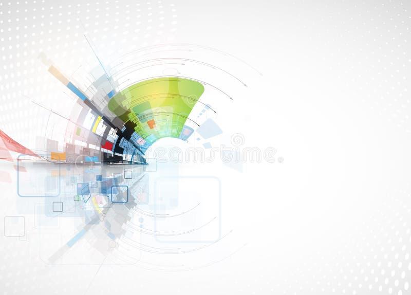 Teknologibakgrund, idé av lösningen för global affär royaltyfri illustrationer