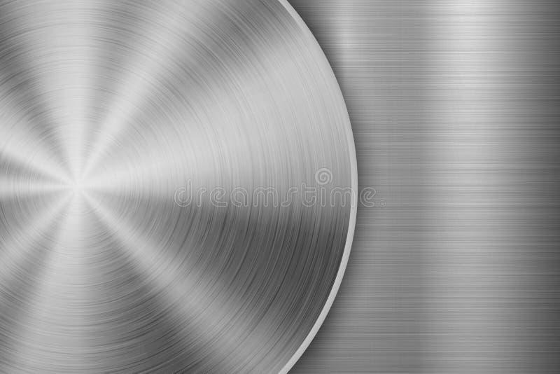 Teknologibakgrund med borstad textur för metall cirkulär royaltyfri illustrationer