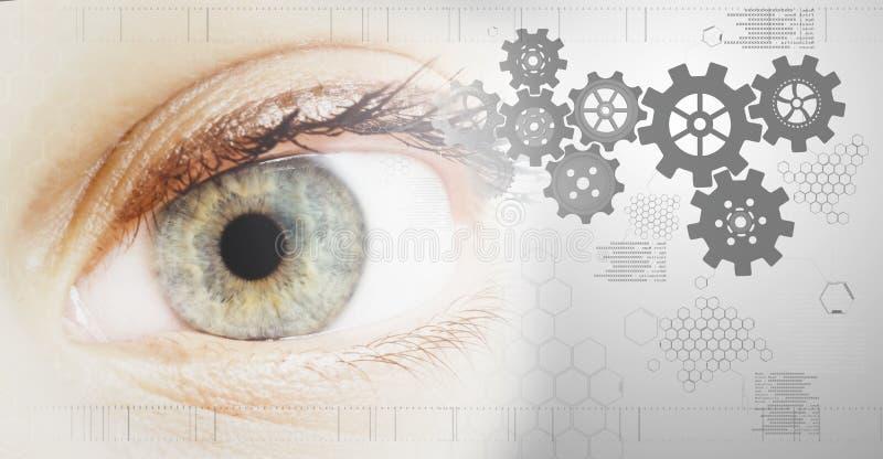 Teknologibakgrund med det blåa/gröna ögat vektor illustrationer