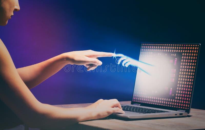 Teknologibegrepp för virtuell verklighet eller för konstgjord intelligens royaltyfri foto