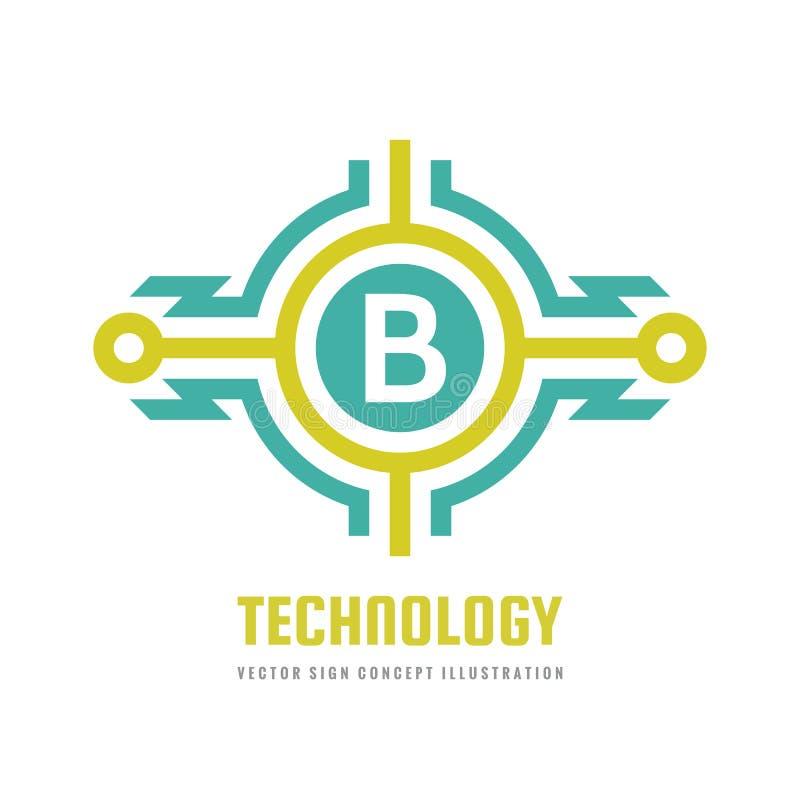 Teknologibokstav B - illustration för begrepp för vektorlogomall Abstrakt tecken för blixtmaktenergi Idérikt digitalt symbol vektor illustrationer