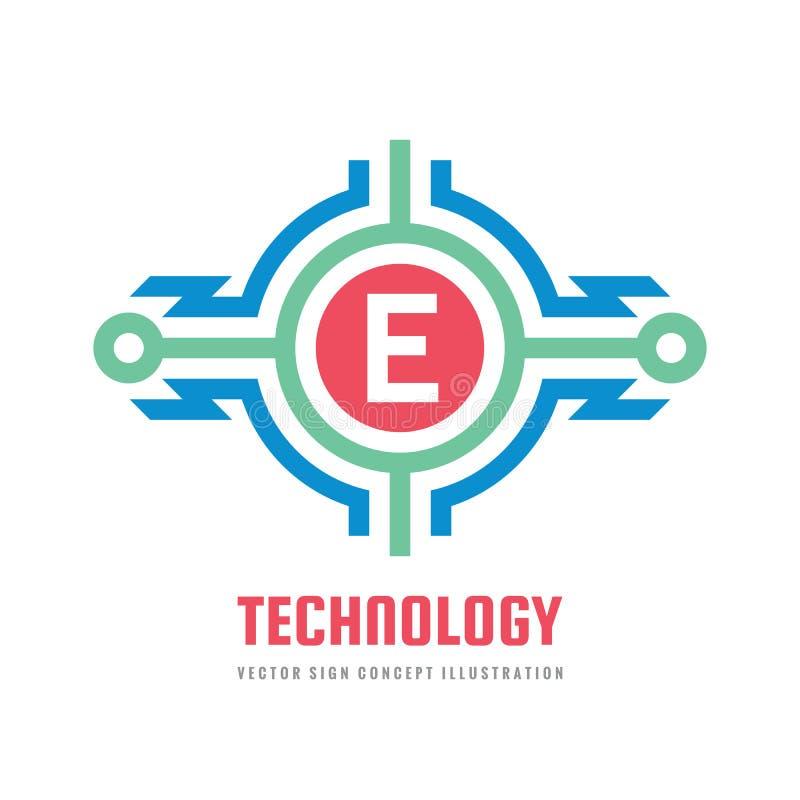 Teknologibokstav E - illustration för begrepp för vektorlogomall Abstrakt tecken för blixtmaktenergi Idérikt digitalt symbol vektor illustrationer