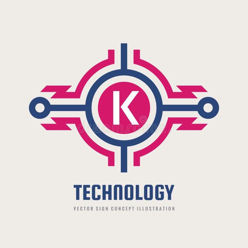 Teknologibokstav K - illustration för begrepp för vektorlogomall Abstrakt tecken för blixtmaktenergi Idérikt digitalt symbol vektor illustrationer